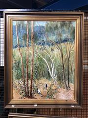Sale 8861 - Lot 2051 - Barry Skinner - Magpies 1974oil on canvas, 90 x 74.5cm (frame) signed