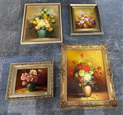 Sale 9033 - Lot 2079 - A good Group of (4) Floral Still Life Paintings (framed/ various sizes, minor damage to [1])