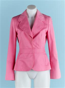 Sale 9091F - Lot 17 - AN ESCADA DOUBLE BREASTED BLAZER, in pink, Size EUR 34.