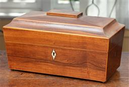 Sale 9120H - Lot 106 - A Georgian mahogany sarcophagus tea caddy with fitted interior, Height 18cm x Width 32cm x Depth 17cm