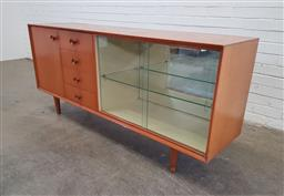 Sale 9171 - Lot 1095 - Vintage timber sideboard with single timber door, 2 glass sliding doors & 4 drawers (h:80 x w:180 x d:46cm)