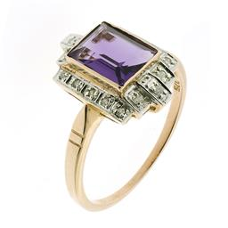 Sale 9164J - Lot 407 - A DECO STYLE 9CT ROSE GOLD DIAMOND AND GEMSTONE RING; centring on a step cut amethyst to a surround of round brilliant cut diamonds,...