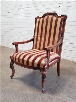 Sale 9179 - Lot 1053 - French Style Carved Beech Armchair, the high back upholstered in cream & brown striped fabric & raised on cabriole legs (h:112 x w:7...