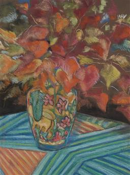 Sale 9214 - Lot 550 - ELAINE HAXTON (1909 - 1999) Still Life, 1966 pastel on paper 42.5 x 57 cm (frame: 75 x 60 x 3 cm) signed lower right