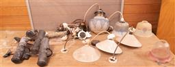 Sale 9248H - Lot 244 - A quantity of vintage lighting to include pendants and picture lights and associated fittings.