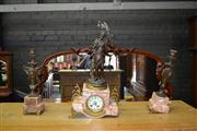 Sale 8032 - Lot 47 - French Art Nouveau A.D. Mougin Chanson du Hautbois Clock Garniture