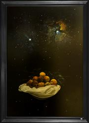 Sale 8205 - Lot 28 - Angelos Panagiotou 1943- - Cosmic Still Life with Peaches 198 x 138cm