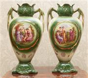 Sale 8649A - Lot 31 - A pair of Victorian mantel vases witheight printed scenes of classical ladies at play, height 31cm