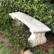 Sale 8774A - Lot 403 - A pair of concrete garden seats with scrolled supports, H x 36cm, L x 110cm