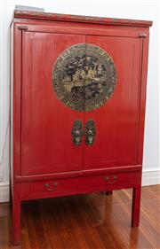 Sale 8990H - Lot 33 - A red lacquered Chinese two door cabinet with niello lock plate and handles depicting scenes of figures on a bridge and cranes, Heig...