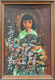 Sale 9041 - Lot 2046 - Retro Latin American Style Painting of a Flower Girl (H83 x W58cm)