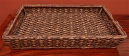Sale 9108H - Lot 63 - A woven tray with timber base. Width 73cm