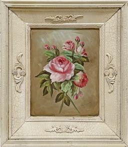 Sale 9103 - Lot 2016 - A Provincial Style Still Life Painting of Pink Camelias, 59 x 50cm (frame)