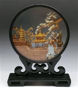 Sale 9144 - Lot 281 - Chinese temple themed diorama together with silk bird themed wall hangings (H: 30cm)