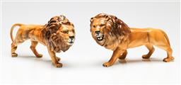 Sale 9209 - Lot 65 - A duo of ceramic Beswick lions (L:24cm and 22cm)
