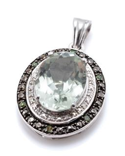 Sale 9221 - Lot 377 - A SILVER GREEN AMETHYST AND DIAMOND PENDANT; oval shape pendant centring an oval cut green amethyst to surround set with 12 single c...