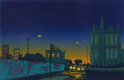 Sale 9216A - Lot 5002 - GEOFFREY HARVEY (1954 - ) Cleveland Street Evening, 1987 screenprint, ed. 2/10 40 x 63.5 cm (frame: 70 x 93 x 3 cm) signed and dated...