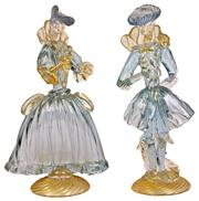 Sale 7978 - Lot 32 - Murano Art Glass Pair of Masquerade Figures