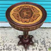 Sale 8649R - Lot 179 - Floral Inlaid Timber Occasional Table with Brass Mounts and Feet (H: 71 Dia: 46.5cm)