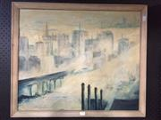 Sale 8779 - Lot 2064 - John Hirley - Cityscape oil on canvas board, 55 x 66cm (frame), signed -