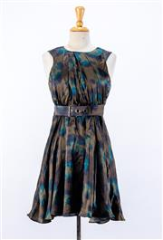 Sale 8891F - Lot 10 - A Kenzo, Paris printed silk satin sleeveless cocktail dress with waist belt, size 8