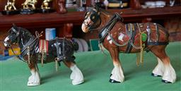 Sale 9103H - Lot 63 - A graduated pair of Melba ware shire horses, Larger Length 32cm Height 28cm