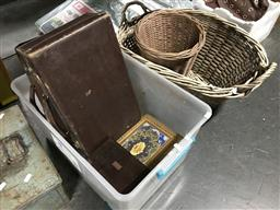 Sale 9106 - Lot 2179 - Collection of boxes & vintage cases with a pair of wicker baskets