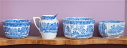 Sale 9120H - Lot 108 - Four pieces of early blue and white fluted ceramics including a Copeland bowl, Width of bowl 11.5cm