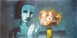 Sale 9150 - Lot 525 - CHARLES BLACKMAN (1928 - 2019) - Girl & Flowers 100 x 199.5 cm (frame: 112 x 212 cm)