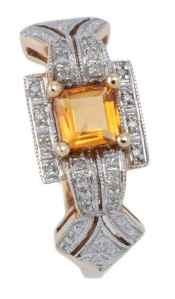 Sale 9145 - Lot 344 - A DECO STYLE DIAMOND AND STONE SET RING; centring a square cut citrine to surround set with round brilliant cut diamonds to kite sha...