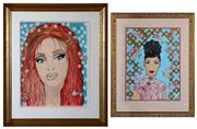 Sale 8098A - Lot 40 - Hayley Carr, Mixed Media, Two works Portraits. signed and dated 1997