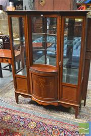 Sale 8282 - Lot 1010 - Edwardian Inlaid Mahogany Display Cabinet, with concave astragal panel & convex door, flanked by glass panel doors