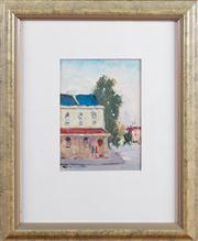 Sale 8308A - Lot 33 - Barry Chamberlain, Sydney terrace study, oil on board, signed lower left, 19 x 14cm