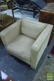 Sale 8507 - Lot 1009 - Pair of Cube Form Fabric Armchairs