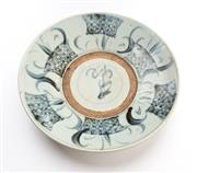 Sale 8517A - Lot 50 - A Qing style porcelain dish with alternating panels and central character, D 26.5cm