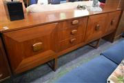 Sale 8550 - Lot 1120 - Teak Sideboard with Drop Front Drinks Compartment, Two Doors & Three Drawers