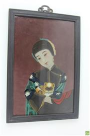 Sale 8563 - Lot 281 - Reverse Glass Chinese Painting Of Woman With Cat c1930s