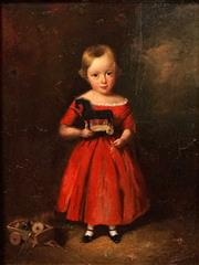Sale 8606 - Lot 590 - Attributed to Augustus Earle (1793 - 1838) - Untitled (Little Girl in Red Dress) 27.5 x 21cm