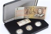 Sale 8670 - Lot 265 - ROYAL AUSTRALIAN MINT MASTERPIECES IN SILVER PROOF COIN SET; The Silver Dollars, 3 x 1 dollar coins, 1 dollar plaque in sterling sil...