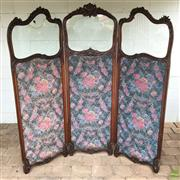 Sale 8649R - Lot 131 - Ornately Carved Timber Room Divider with Floral Tapestry Inserts and Rope Surrounds (H: 182 W: 169.5cm) (Some Losses to Surround)