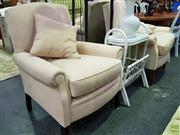 Sale 8629 - Lot 1043 - Pair of Fabric Upholstered Armchairs in Cream