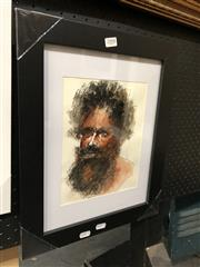Sale 8779 - Lot 2008 - Greg Lipman - Aboriginal Elder 4, pen, ink and gouache, 28 x 36cm, signed