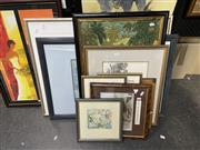 Sale 8874 - Lot 2025 - A group of assoted artworks including original watercolours, decorative prints and Indonesian painting