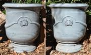 Sale 8972H - Lot 51 - A Pair of glazed French Anduze style pots, Height 64cm x Diameter 56cm