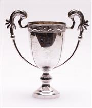 Sale 9027 - Lot 75 - A Chinese Export Sterling Silver Trophy, Twin Handled with Inscribed Names H:21cm (total wt. 309g)