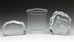 Sale 9098 - Lot 104 - A Set Of Three Glass Paperweights (Tallest H: 14cm)