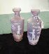 Sale 7346 - Lot 31 - A PAIR OF MAUVE GLASS MARY GREGORY VASES