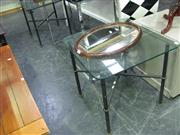 Sale 7931A - Lot 1129 - Pair of Metal Based Glass Topped Occasional Tables