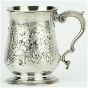 Sale 8264 - Lot 32 - English Hallmarked Sterling Silver George III Tankard