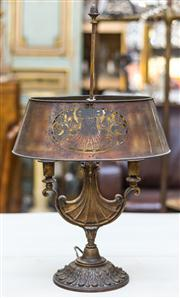 Sale 8287A - Lot 70 - An exceptionally rare French solid bronze Boulette lamp, with hand cut insignia in bronze shade. Superb casting & detail, 70- 67cm h...